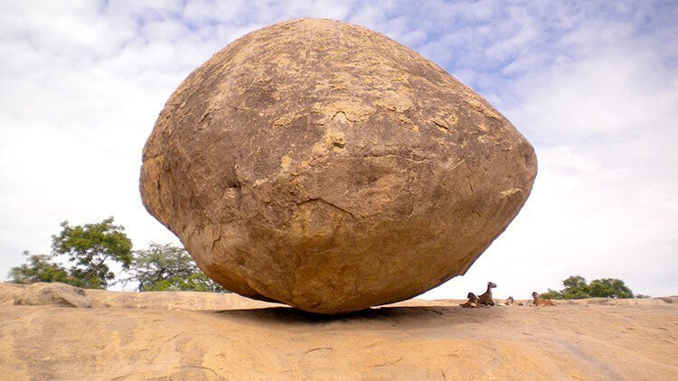 7 Elephants were not able to shake this stone, its famous as Indian God 'Krishna's butter ball'