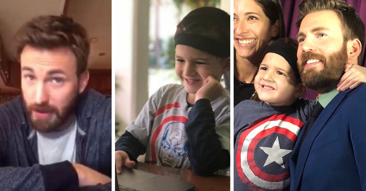 Chris Evans makes a child's dream come true and names it Avenger