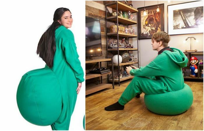 Create a pajama that comes with a built-in puff
