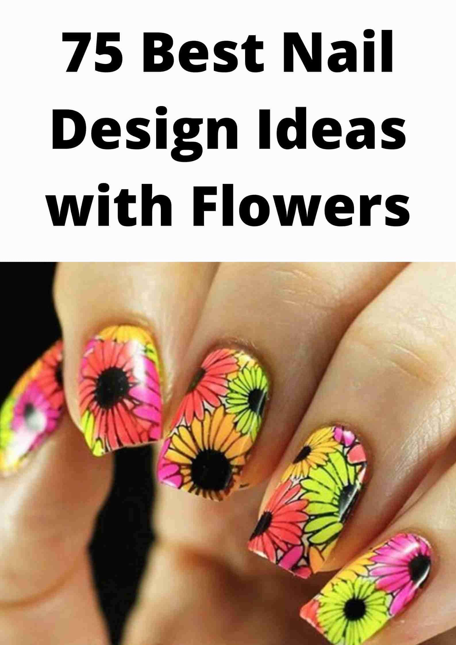 Nail Design with flower
