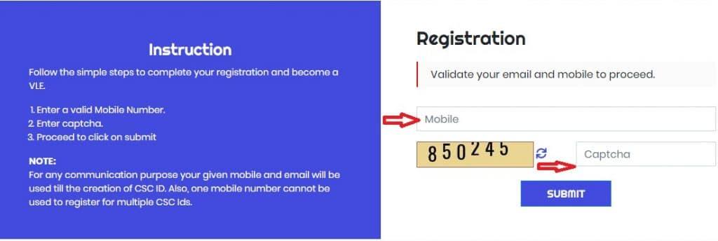 applicant details for Csc digital seva registration
