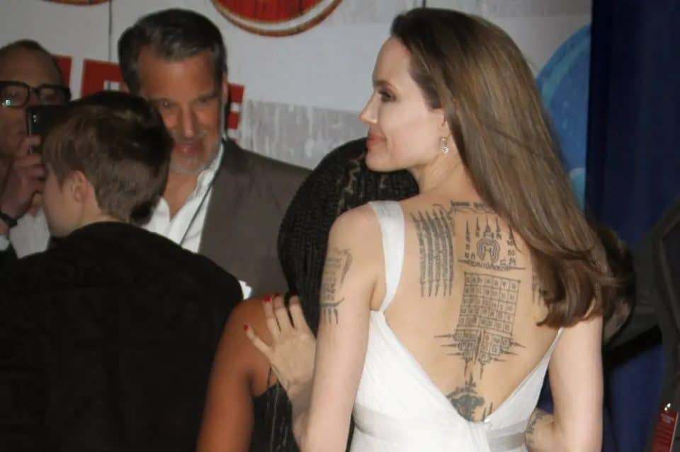 Angelina Jolie's tattoo on back